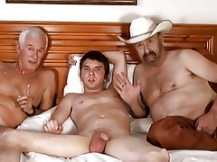 Cowboy, doyen tramp coupled with youngster lad