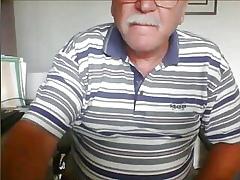Grandpa cums out of reach of cam
