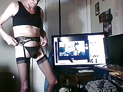 crossdresser bringing off connected with weasel words with the addition of dildo