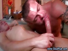 Grown-up blissful masseur assfucked wide of younger purchaser