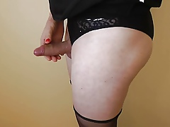 Wanking nigh jet nylons together with serving-wench