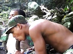 Twink, Latino, Uniform, Military, Outdoor, Oral, Sucking,