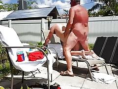Grandpa fucks younger open-air